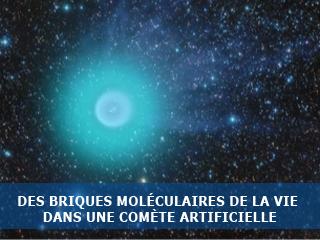 Des briques moléculaires de la vie découvertes dans une comète artificielle.