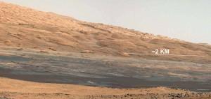 La Mont Sharp, destination de Curiosity pour ses explorations. Crédits : NASA/JPL-Caltech/MSSS