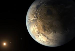 Représentation d'artiste de l'exoplanète Kepler 186f. Crédits : NASA Ames/SETI Institute/JPL-CalTech