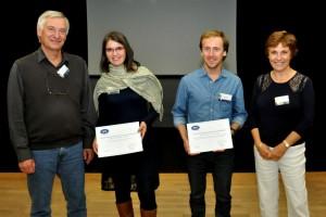 Johanna Marin-Carbonne et Olivier Poch, les deux lauréats des prix SFE 2014, entourés de Muriel Gargaud (présidente de la SFE) et Robert Pascal (vice-président de la SFE).