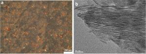 Figure 3 : Images des échantillons de molécules organiques en présence de nontronite enrichie en Fe3+. (a) La surface d'un échantillon vue au microscope optique. (b) Un grain de nontronite vu au microscope électronique en transmission. La nontronite est un phyllosilicate, c'est-à-dire un silicate constitué de feuillets dans et autour desquels des molécules organiques peuvent être adsorbées ou interagir. (crédits : Poch et al., 2015)