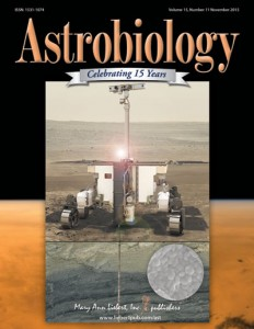 Le robot ExoMars 2018 en couverture du journal Astrobiology (vol. 15, issue 11)