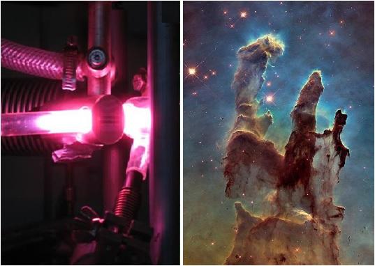 Le traitement ultraviolet des glaces pré-cométaires (à gauche) reproduit l'évolution naturelle des glaces interstellaires observées dans un nuage moléculaire (à droite, les piliers de la création), conduisant à la formation de molécules de sucre. (crédits : © Louis Le Sergeant d'Hendecourt (CNRS) / NASA, ESA, and the Hubble Heritage Team (STScI/AURA))