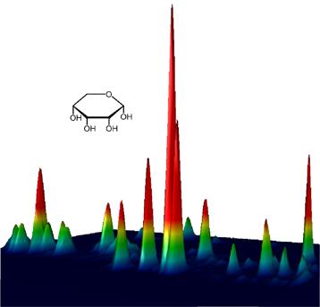 Le ribose (et des molécules de sucres apparentées, comme l'arabinose, le lyxose et le xylose) ont été détectés dans des analogues de glaces pré-cométaires grâce à la chromatographie multidimensionnelle en phase gazeuse. Le ribose forme le « squelette » de l'acide ribonucléique (ARN), considéré comme le matériel génétique des premiers organismes vivants. (crédits : © Cornelia Meinert (CNRS))