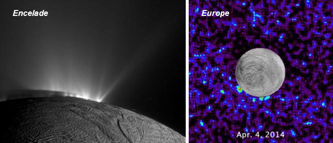 Panaches d'eau observés sur Encelade par la sonde Cassini-Huygens et possiblement sur Europe par le télescope spatiale Hubble. (crédits : NASA/ESA/W. Sparks STScI)