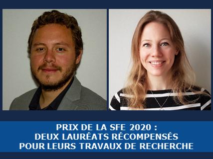 Announcement: Prix de la SFE 2020: deux lauréats récompensés pour leurs travaux de recherche