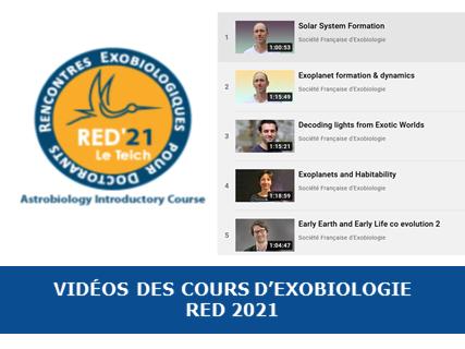 Vidéos des cours d'exobiologie RED 2021
